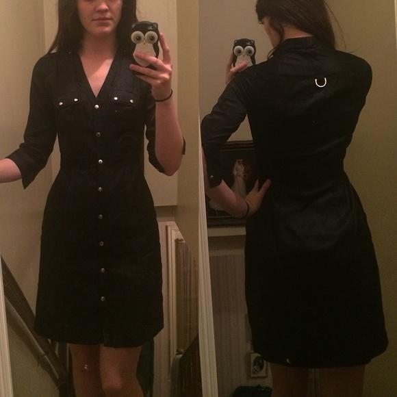 f0fa8476b4a03 Black Silk Button Down utility Shirt Dress 00. M 56a3034c44adba06e001fd69.  Other Dresses you may like. White House Black Market ...