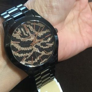 authentic mk black stainless steel w crystal authentic black crystal