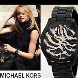 Authentic MK black stainless steel w Crystal