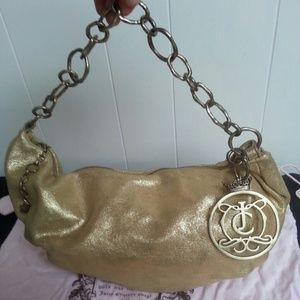 Juicy couture gold shimmer hobo purse leather