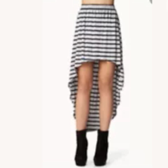forever 21 forever 21 striped black gray high low skirt