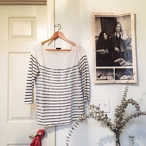 J. Crew boat neck sequin striped top