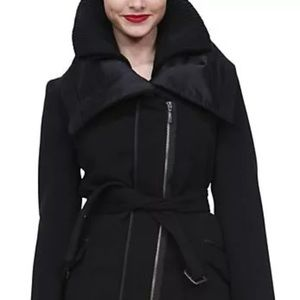 Desigual black coat parka wool/satin size 38