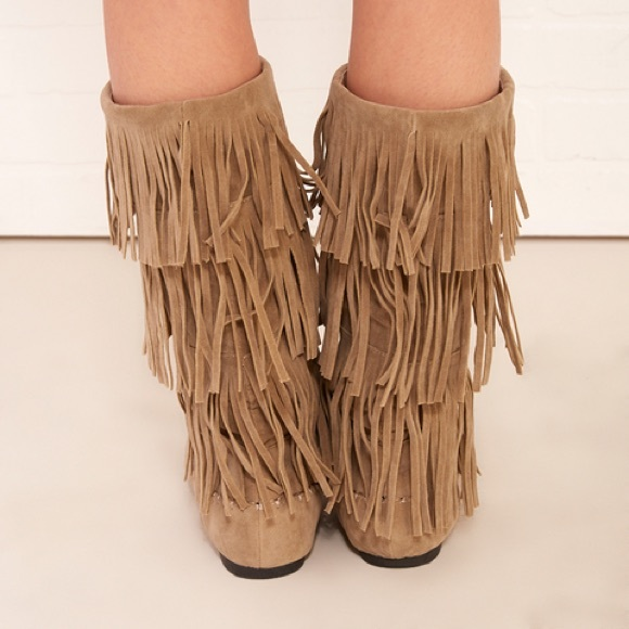13% off Wet Seal Shoes - Fringe tiered tall moccasin boots from ...