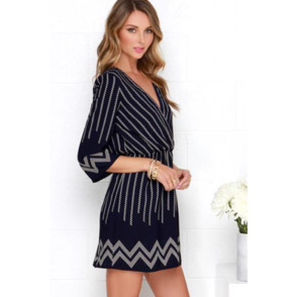 Lulus Dresses Navy Print Long Sleeve Sundress Poshmark