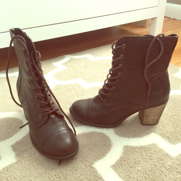 73892ff603 Diba Shoes | Brown Laceup Heel Boots | Poshmark