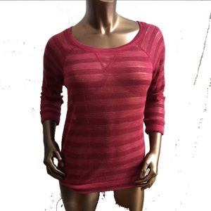Energie Sweaters - NWT Burgundy Sheer Stripe 3/4 Sleeve Sweater