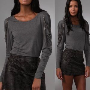 Haute Hippie Tops - ⬇️Haute Hippie Gray long sleeve tee with chain
