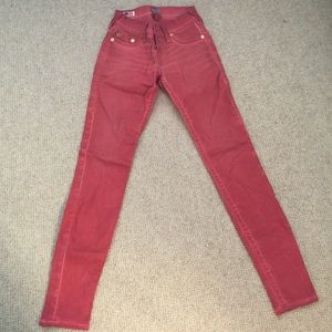 Red True Religion Skinny Jeans