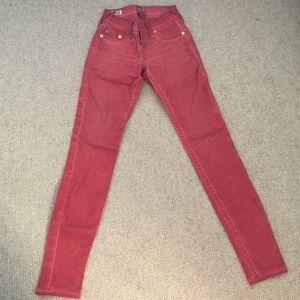Red True Religion Skinny Jeans