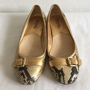 MICHAEL Michael Kors Snakeskin Leather Flats Shoes
