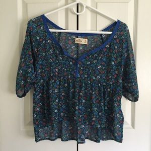 Hollister Floral Cropped Blouse