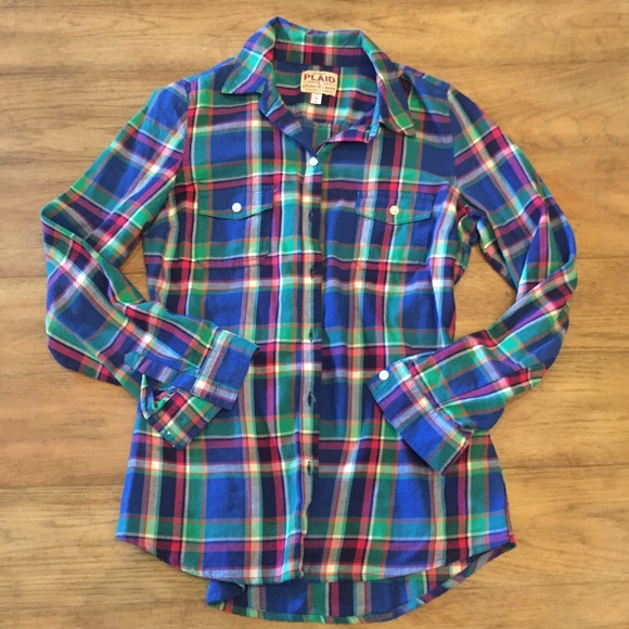 Old navy blue pink and green plaid shirt from anna 39 s for Blue and green tartan shirt