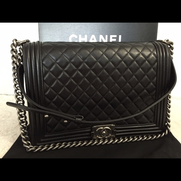 dd2abb527fc558 CHANEL Bags | Sold Out Authentic Large Boy Lambskin Blck | Poshmark