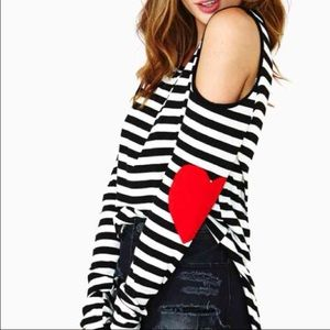 Tops - Black and what stripe shirt long sleeve