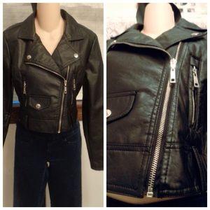 Dollhouse Jackets & Blazers - Jet Black Faux Leather Crop Style Moto Jacket M