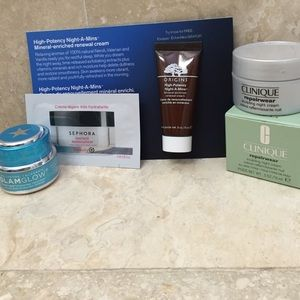Skincare products. Clinique, glamglow, origins.
