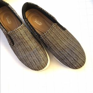 Herringbone Calf Hair Slip On Sneakers Sz 8