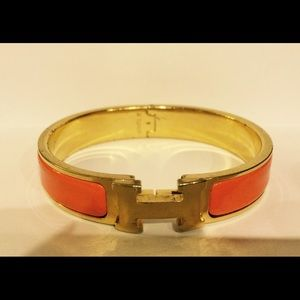 71 Off Hermes Jewelry 100 Auth Hermes Ss Amp And Orange