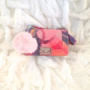 Accessories - Pale pink rabbit poof keychain! 💗