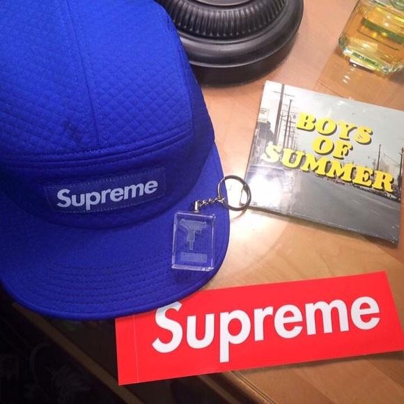 ff0c871a Supreme Accessories   Jacquard Quilt Camp Cap Blue   Poshmark