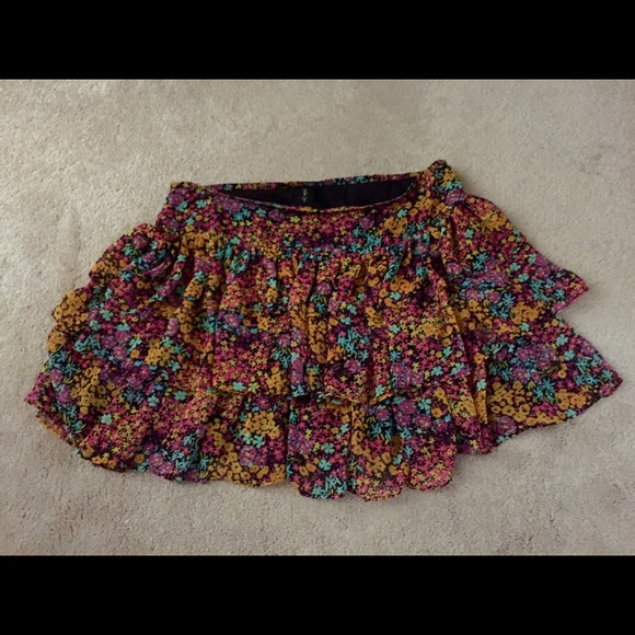 London Jean Skirts - SOLD London Jean floral ruffle layered skirt