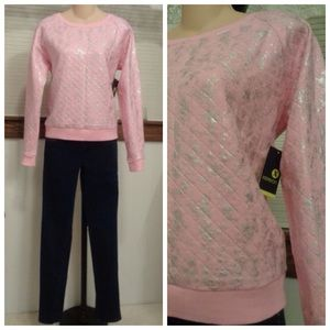 Xersion  Tops - Cotton Candy Pink Pullover Shirt w/Silver NWT S