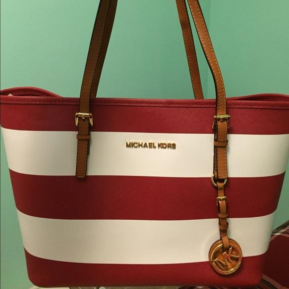 c057e2b6b26760 Michael Kors red and white striped tote bag. M_569ee9859c6fcf73d000b993