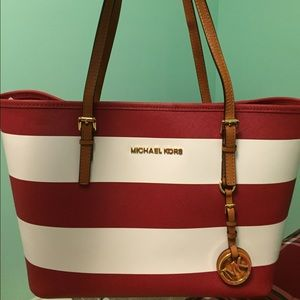 d81fd68180399 Michael Kors Bags - Michael Kors red and white striped tote bag
