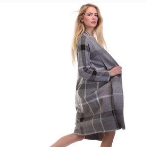 NWT Tea & Cup Gray Plaid Cardigan Sweater