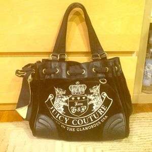Juicy couture Black and White Velvet purse