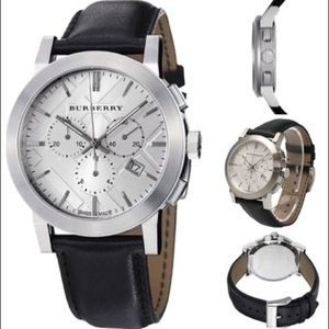 Burberry Unisex Classic Black Leather Strap Watch