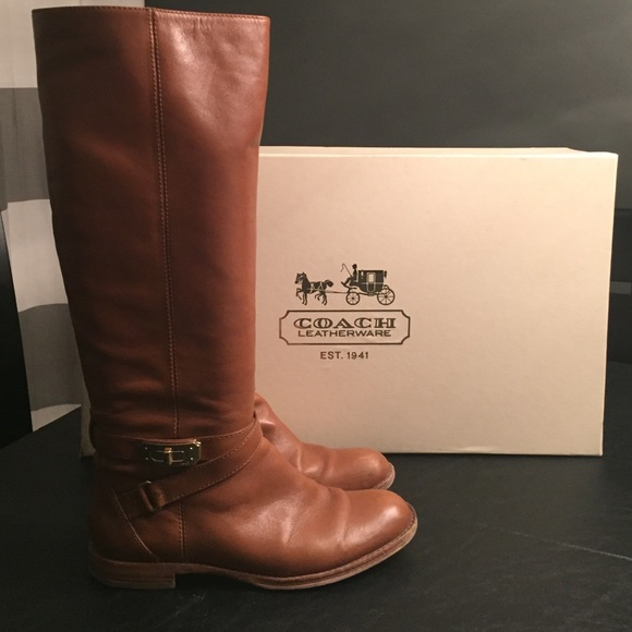 top quality the best sells COACH Knee High Camel Leather Boots