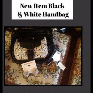 Handbags - Cute Black with White Crochet