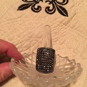 Ann Taylor Jewelry - Ann Taylor Stretch Ring Black Crystals / Silver