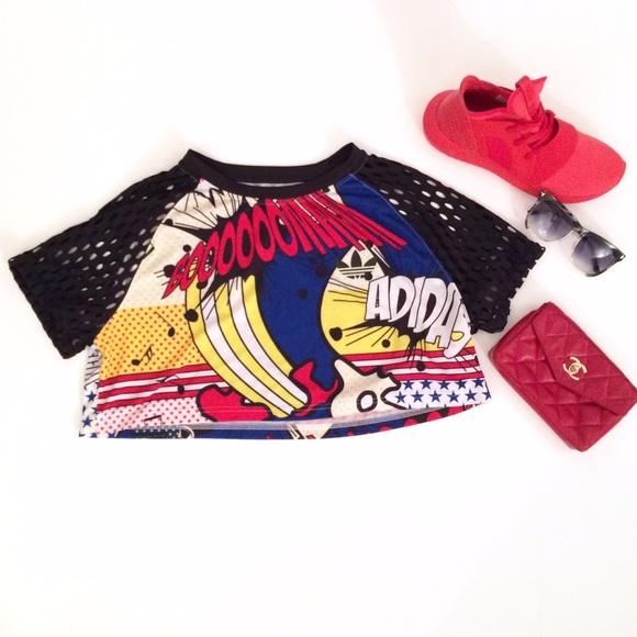 b97ee00b561 Adidas Tops | Rita Ora Comic Graphic Crop Top | Poshmark