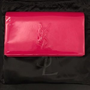 YSL large clutch in hot pink