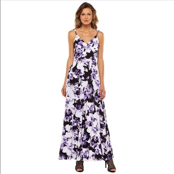 175160314839 Purple floral maxi dress