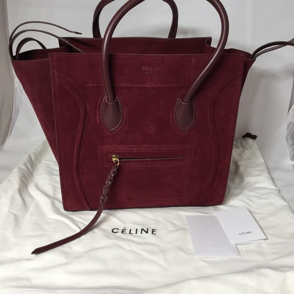 45% off Celine Handbags - Authentic Céline Phantom Suede Dark Red ...