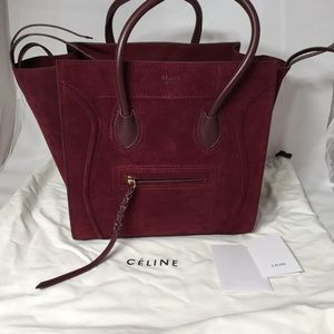 celine shoulder bag - 45% off Celine Handbags - Authentic C��line Phantom Suede Dark Red ...