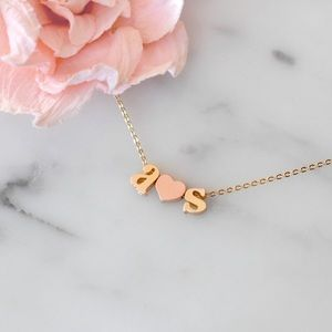 Jewelry - Tiny Initial Necklace with Heart