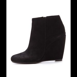 Joie Angel black suede wedge ankle booties