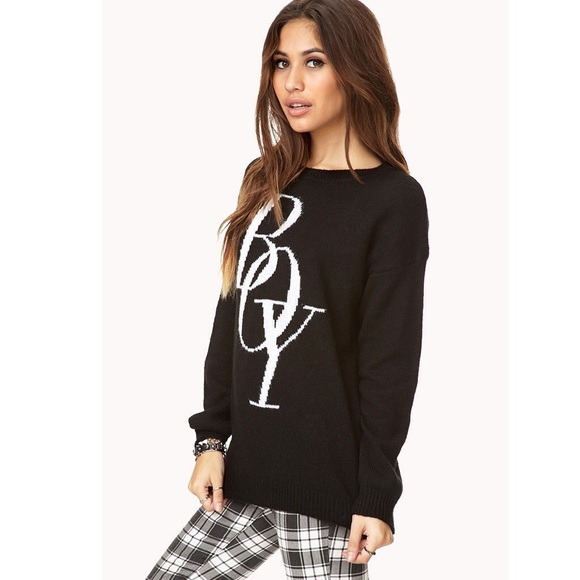 Forever 21 Sweaters - ⬛️Wool Blend Oversized Sweater F21 Boy Print Black