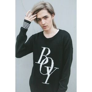 LAST! Wool Blend Oversized Sweater Boy Print Black