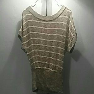 Soft Gray w/ white stripes top