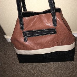 Color-Block Brown Tote Bag