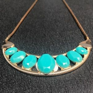 Turquoise & gold statement necklace