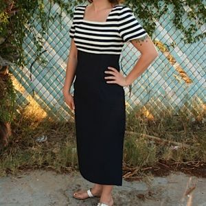 Striped Navy Vintage 90s Sailor Nautical Dress