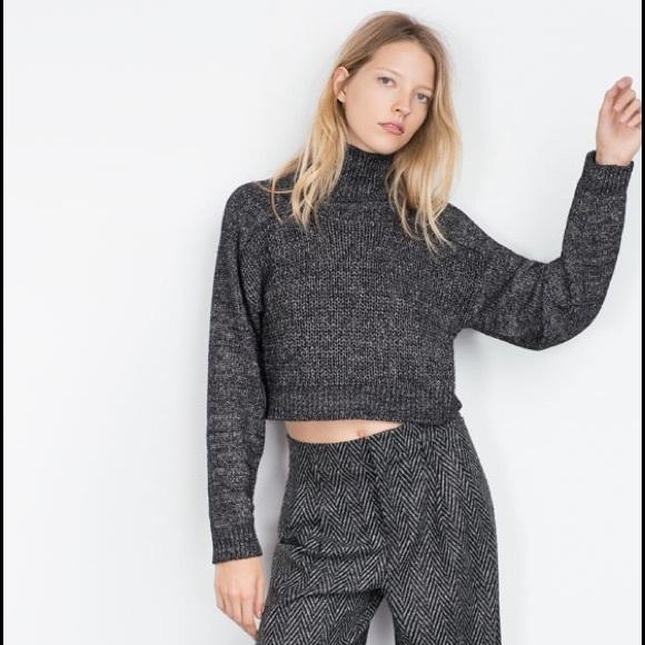 40% off Zara Sweaters - Zara black knit cropped turtleneck sweater ...
