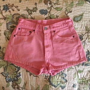 Vintage Pants - Vintage 90s pink high waisted Levi's denim shorts